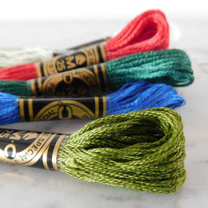Full skeins of DMC embroidery floss are included