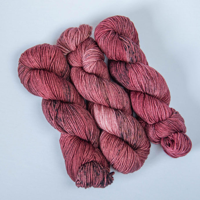 Hand Dyed DK Merino Yarn in Muted Red -- Pinot Noir