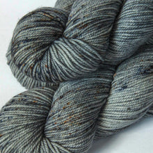 Load image into Gallery viewer, Hand Dyed DK Merino Yarn in Gray -- Spotted Silverware
