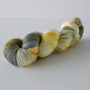 merino gray and yellow superwash wool