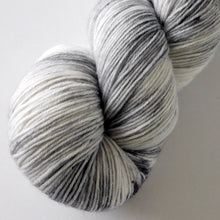 Load image into Gallery viewer, Merino Wool Speckled Sock Yarn -- Hand Dyed Gray and White