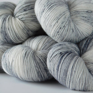 Merino Wool Speckled Sock Yarn -- Hand Dyed Gray and White