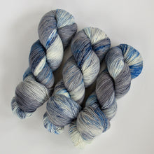 Load image into Gallery viewer, Merino Wool Speckled Sock Yarn -- Hand Dyed Blue, Gray and White