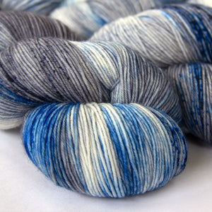 Merino Wool Speckled Sock Yarn -- Hand Dyed Blue, Gray and White