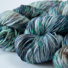 Load image into Gallery viewer, Summer Camp Sock Yarn in Tones of Blue, Green, Brown and White -- Hand Dyed Extrafine Merino Wool Blend