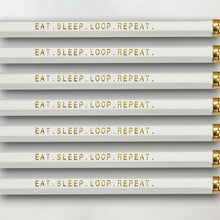 "Load image into Gallery viewer, ""Eat. Sleep. Loop. Repeat."" Pencil Set -- Seven Pencils Celebrating Knitting, Crocheting & Yarn"