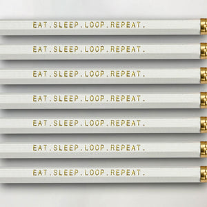 """Eat. Sleep. Loop. Repeat."" Pencil Set -- Seven Pencils Celebrating Knitting, Crocheting & Yarn"