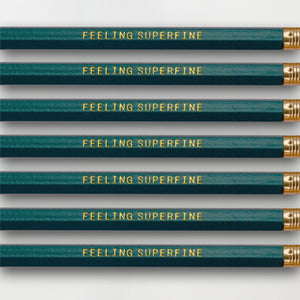 """Feeling Superfine"" Pencil Set -- Seven Pencils Celebrating Knitting, Crocheting & Yarn"