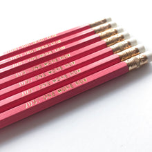 "Load image into Gallery viewer, Bubblegum Pink set of ""Just one more row"" pencils"