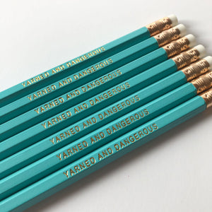 Yarned and Dangerous pencil set for knitters and crocheters