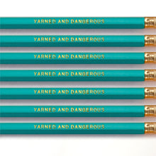 "Load image into Gallery viewer, ""Yarned and Dangerous"" Pencil Set -- Seven Pencils Celebrating Knitting, Crocheting & Yarn"