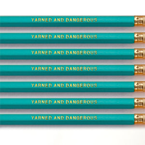 """Yarned and Dangerous"" Pencil Set -- Seven Pencils Celebrating Knitting, Crocheting & Yarn"