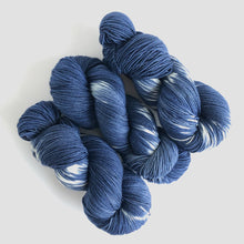 Load image into Gallery viewer, Indigo Shibori Sock Yarn -- Hand Dyed Extrafine Merino Wool Blend