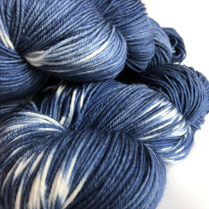 Indigo Shibori Sock Yarn -- Hand Dyed Extrafine Merino Wool Blend