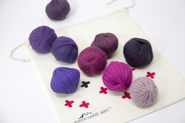 T-Shirt Yarn Crochet Kit in Purple -- with free patterns, video, bag and button