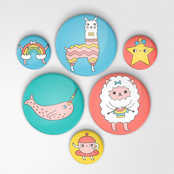Colorful Characters Collection: 6-Pack of Pin-back Buttons