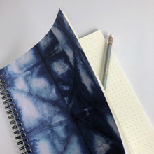 Load image into Gallery viewer, Spiral Notebook - Shibori Blue and White Print - plain, graph, or bullet dot grid paper