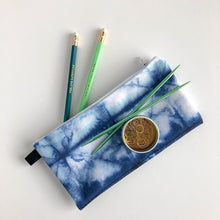 Load image into Gallery viewer, Small Zippered Pouch with Shibori Blue and White Print