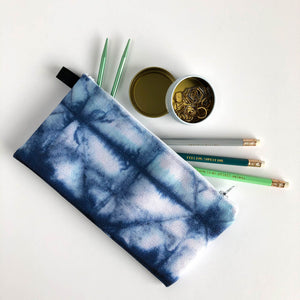 Small Zippered Pouch with Shibori Blue and White Print