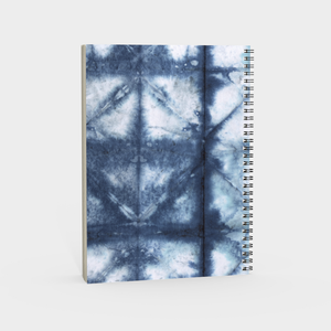 Spiral Notebook - Shibori Blue and White Print - plain, graph, or bullet dot grid paper