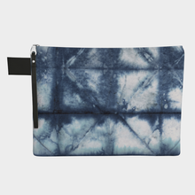 Load image into Gallery viewer, Medium Zipper Pouch -- Wristlet with Shibori Blue and White Print