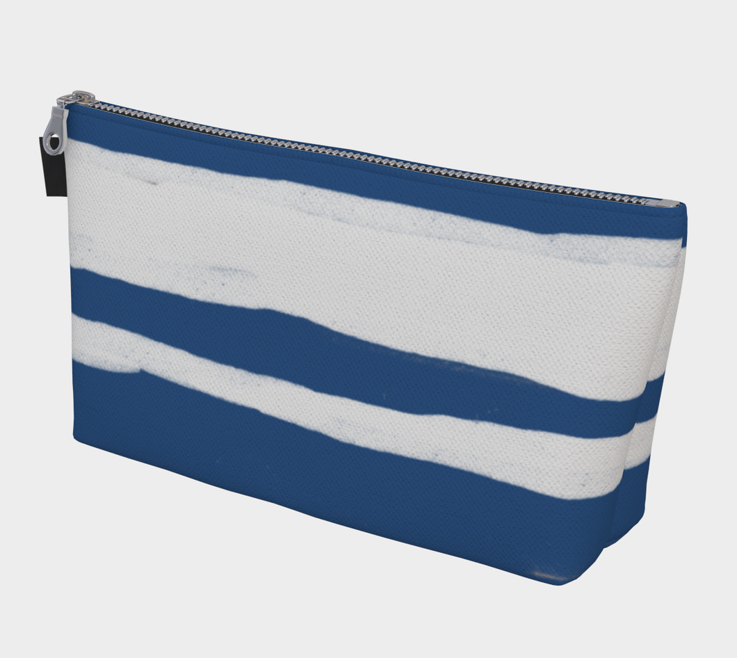 Large Gusseted Project Bag -- Organic Blue and White Stripes