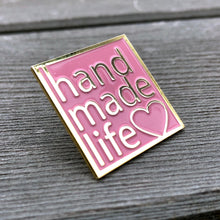 Load image into Gallery viewer, handmade life love enamel lapel pin