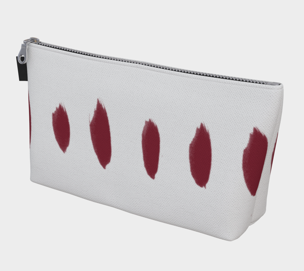 Large Gusseted Project Bag -- White with Pinot Red Print