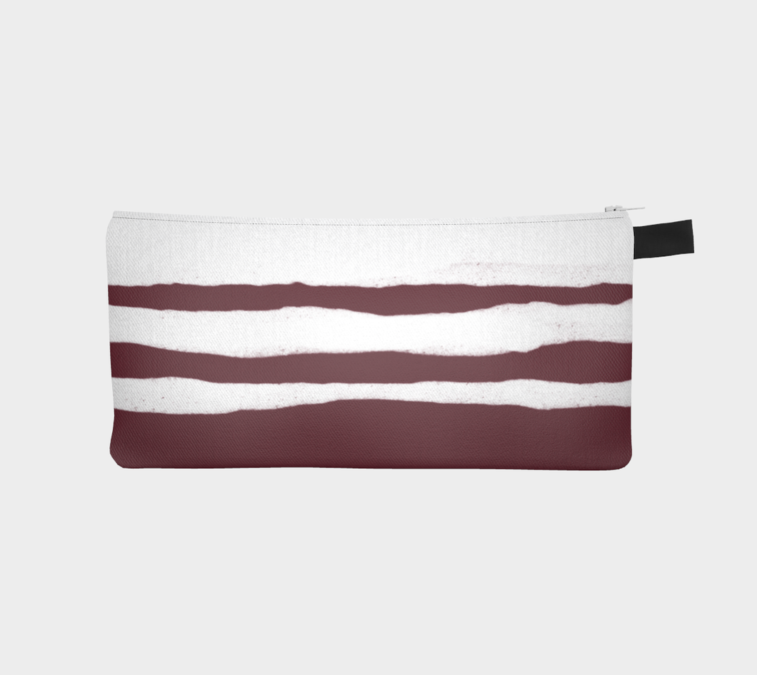 Small Zippered Pouch with Pinot and White Striped Pattern