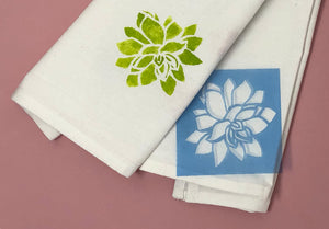 Succulent tea towel made with stencils