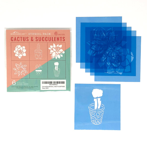 Cactus and Succulent Stencils -- Set of Six Templates