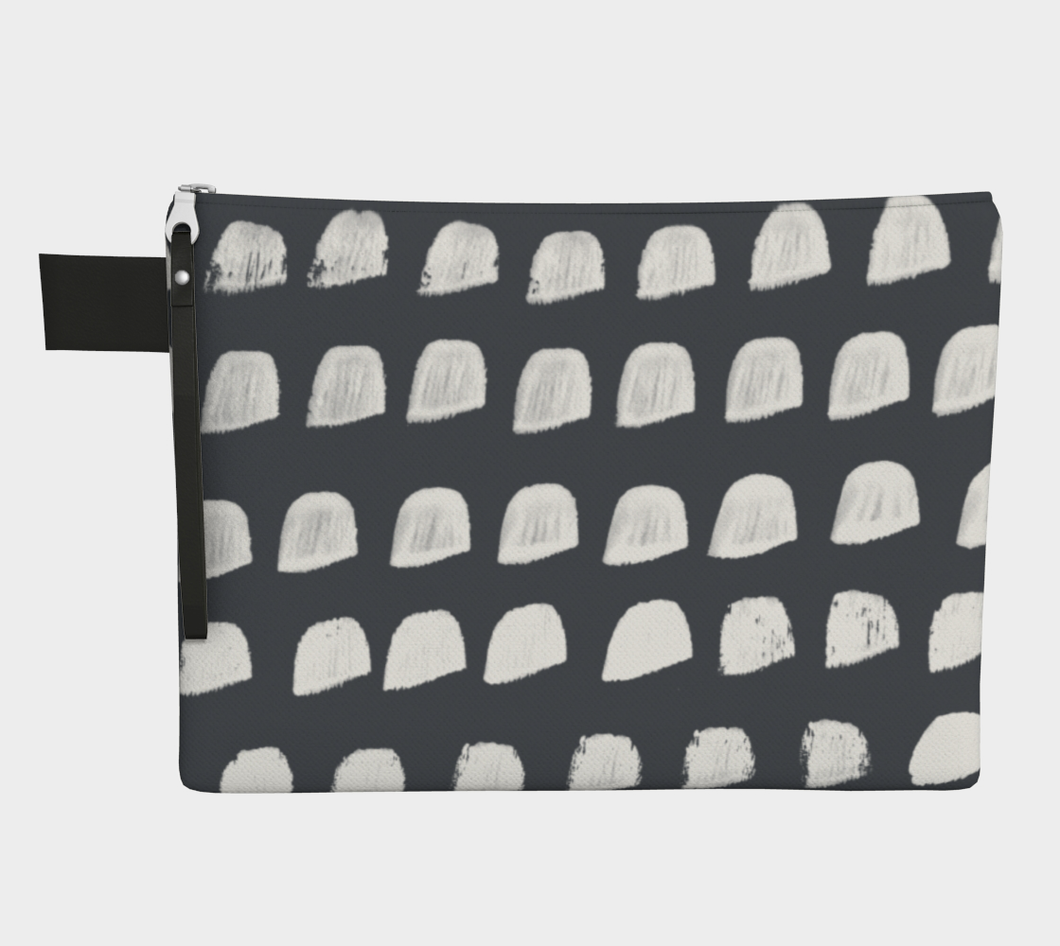 Medium Zipper Pouch -- Wristlet with White and Gray Print