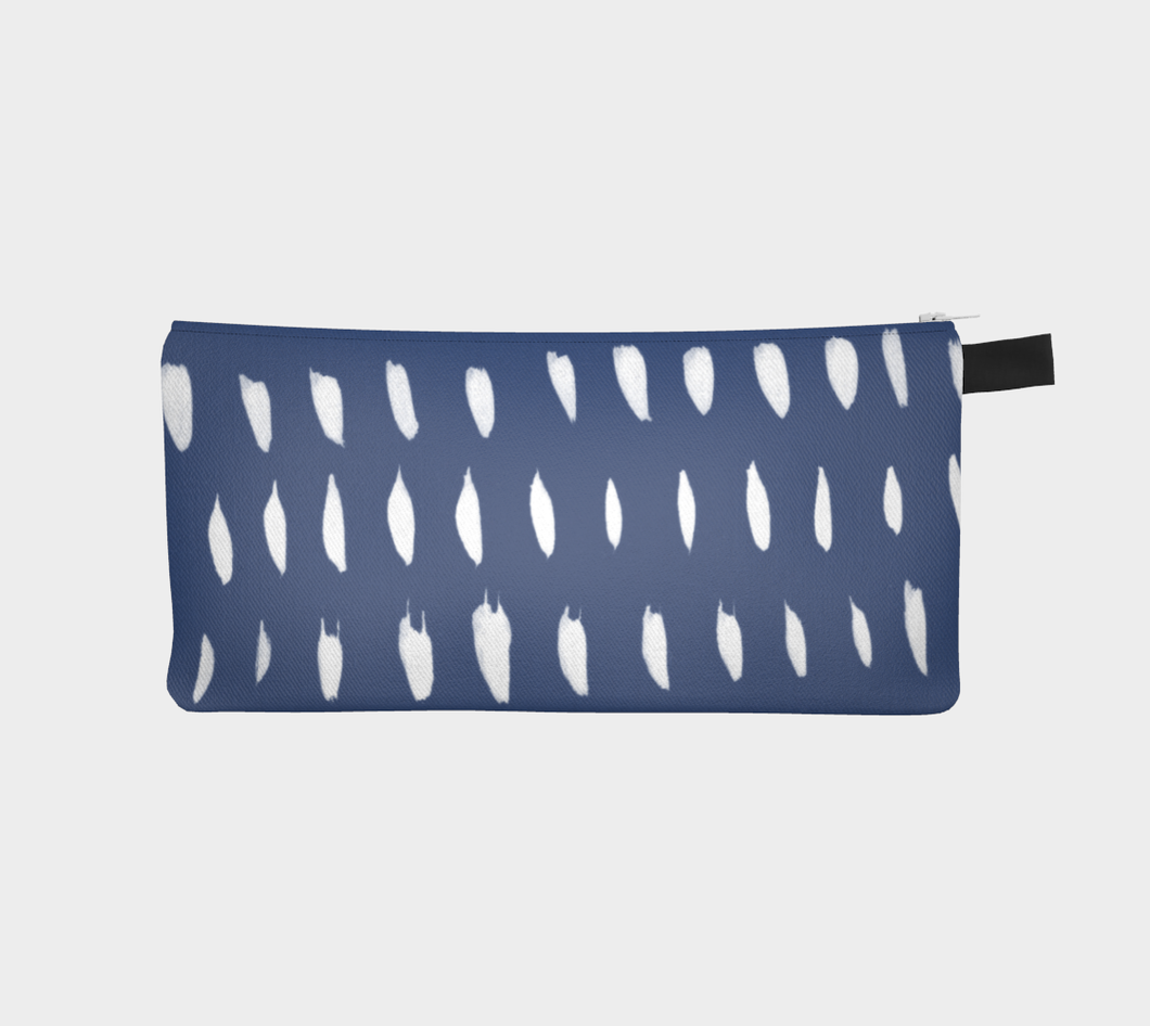 Small Zippered Pouch with Organic White Marks on Blue