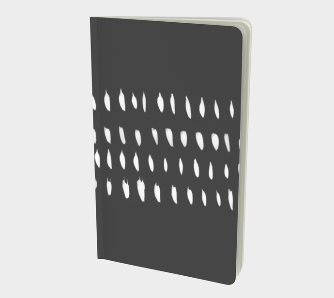 Notebook with Organic White Design on Charcoal Gray - plain, graph, or bullet dot grid paper