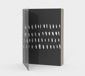 Spiral Notebook with Organic White Design on Charcoal Gray - plain, graph, or bullet dot grid paper