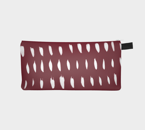 Small Zippered Pouch with Organic White Marks on Pinot Red