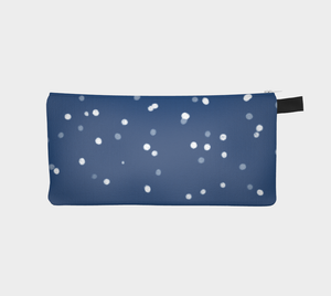 Small Zippered Pouch with Snow Print on Blue