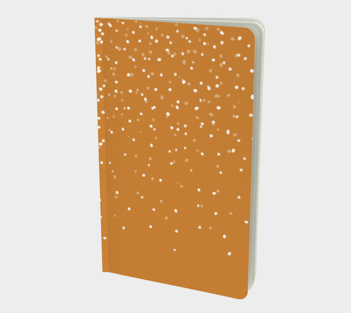 Notebook with White Snow on Cheddar Print - plain, graph, or bullet dot grid paper