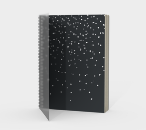 Spiral Notebook with White Snow on Charcoal - plain, graph, or bullet dot grid paper