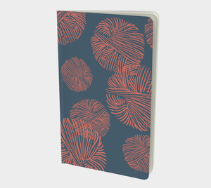 Notebook with Coral Yarn on Indigo - plain, graph, or bullet dot grid paper