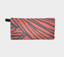 Load image into Gallery viewer, Small Zippered Pouch with Indigo & Coral Yarn Pattern / Pencil Case
