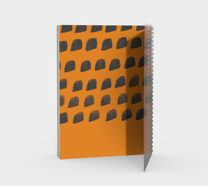 Spiral Notebook with Cheddar and Gray Print - plain, graph, or bullet dot grid paper