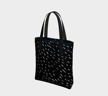 Load image into Gallery viewer, Deluxe Tote Bag with White Rain on Black Skies -- Lined with Pockets