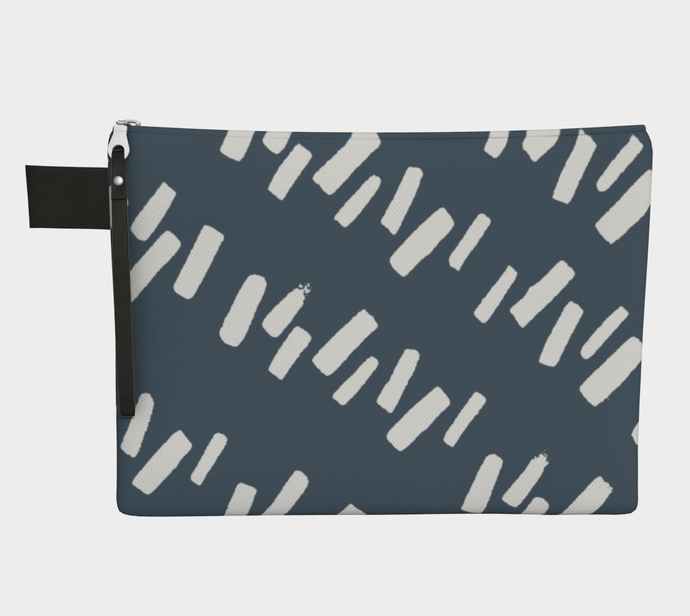Medium Zipper Pouch with Gray & Indigo Print -- Project Bag / Clutch