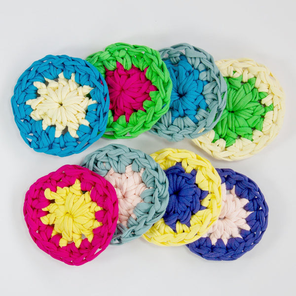 coaster crochet kit in happy bright t-shirt jersey yarn