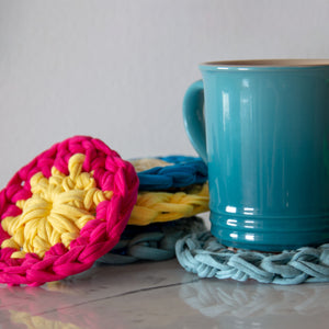 t-shirt yarn coasters are bright and cheerful