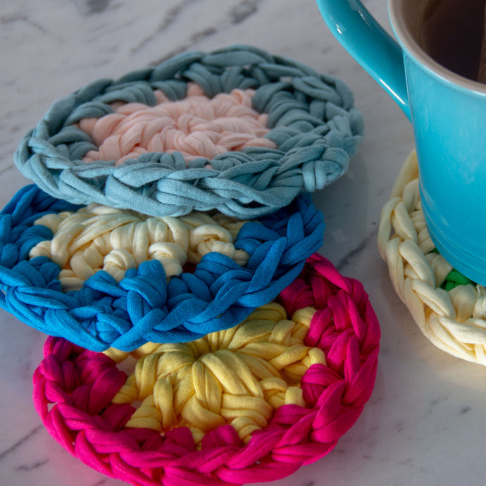 Crochet Pattern: Colorful Coasters for Jersey Yarn - FREE (PDF)