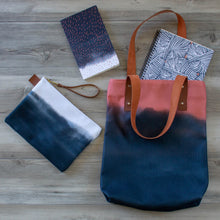 Load image into Gallery viewer, Deluxe Tote Bag with Indigo & Coral Pattern -- Lined with Pockets