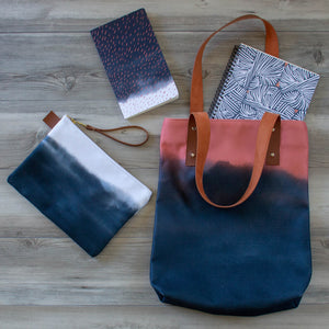 Deluxe Tote Bag with Indigo & Coral Pattern -- Lined with Pockets