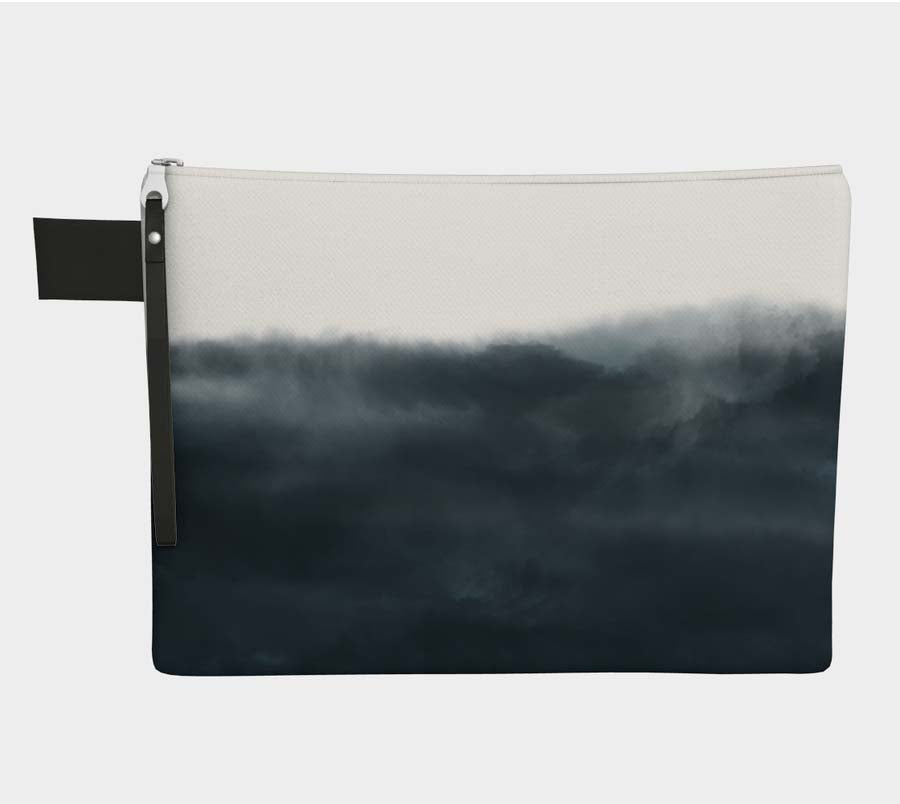Medium Zipper Pouch with Indigo Cloud Print -- Project Bag / Clutch
